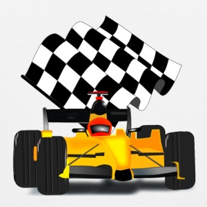 Yellow Race Car with Checkered Flag - Men's Premium Tank