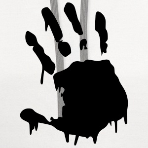 Hand Print Bloody T-Shirts - Contrast Hoodie