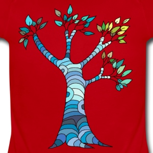 blue tree - Short Sleeve Baby Bodysuit