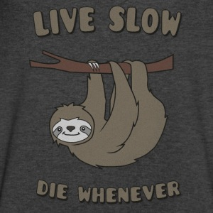 Funny & Cute Sloth Live Slow Die Whenever Slogan Long Sleeve Shirts - Men's V-Neck T-Shirt by Canvas