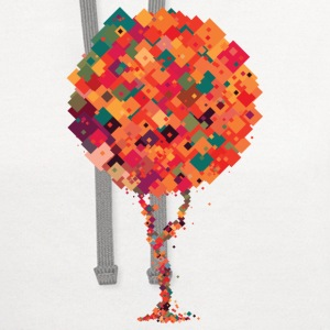 Colourful pixel tree Women's T-Shirts - Contrast Hoodie