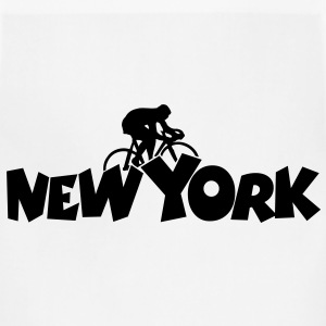 New York Cycling t-shirt (Men White/Black) Back - Adjustable Apron