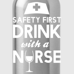 safety first drink with nurse - Water Bottle