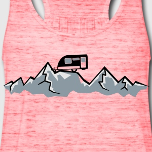 Alps mountains tent tents top mountains at T-Shirts - Women's Flowy Tank Top by Bella