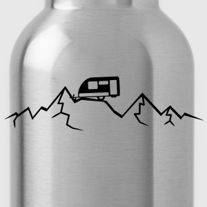 Mountains Alps Caravans above mountains at T-Shirts - Water Bottle
