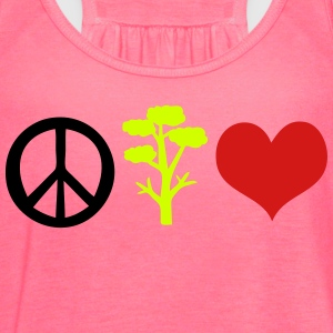 Peace love and save the trees Women's V-Neck Tri - Women's Flowy Tank Top by Bella