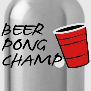 Beer Pong Champ 3 Color Vector Design. - Water Bottle