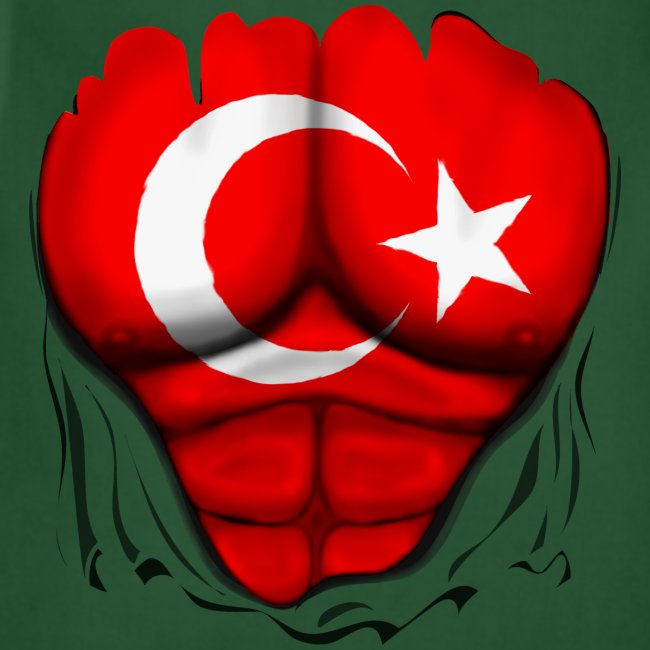 Turkey Flag Ripped Muscles, six pack, chest t-shirt