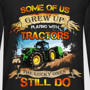 Tractor driver T-shirt - Grew up with tracktors - Men's Premium Long Sleeve T-Shirt