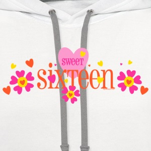 Sweet 16 Heart FLower Women's T-Shirts - Contrast Hoodie