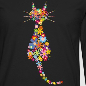 Cat and flowers - Men's Premium Long Sleeve T-Shirt