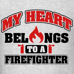 My heart belongs to a firefighter Tanks - Men's T-Shirt