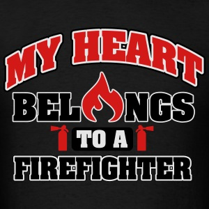 My heart belongs to a firefighter Hoodies - Men's T-Shirt