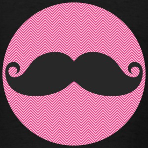 Funny Black Mustache and Girly Hot Pink Chevron - Men's T-Shirt