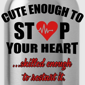 Cute enought to stop your heart - paramedic T-Shirts - Water Bottle