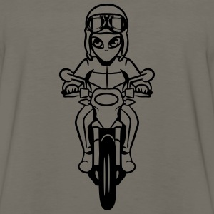 Motorcycle comic funny alien T-Shirts - Men's Premium Long Sleeve T-Shirt