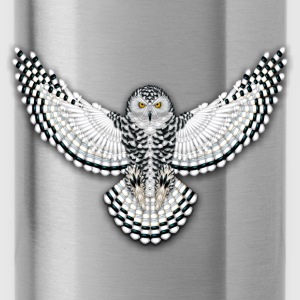 Native American Beadwork Snowy Owl - Water Bottle
