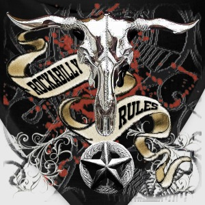 Chrome Cow Skull Rockabilly Rules - Bandana