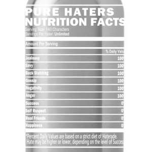 Pure Haters Nutrition Facts, Black T-Shirts  - Water Bottle