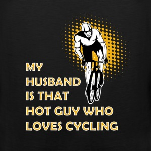 Cycling T-shirt - My husband is cycling - Men's Premium Tank