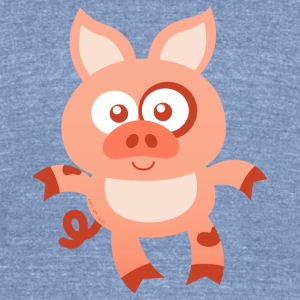 Smiling Baby Pig Long Sleeve Shirts - Unisex Tri-Blend T-Shirt by American Apparel