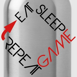 eat sleep game repeat text logo T-Shirts - Water Bottle