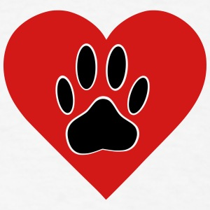 Red Heart With Dog Paw Print - Men's T-Shirt