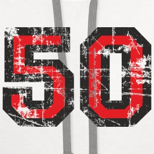 Number 50 Birthday T-Shirt (Women Black/Red) Vinta - Contrast Hoodie