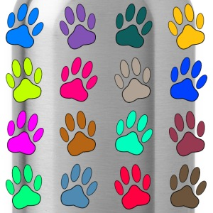 Multicolored Paw Prints T-Shirts - Water Bottle