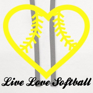 Live Love Softball with Softball heart Design T-Shirts - Contrast Hoodie