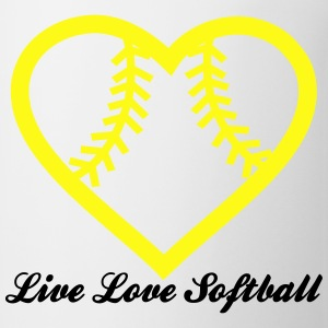Live Love Softball with Softball heart Design T-Shirts - Coffee/Tea Mug