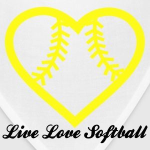 Live Love Softball with Softball heart Design T-Shirts - Bandana