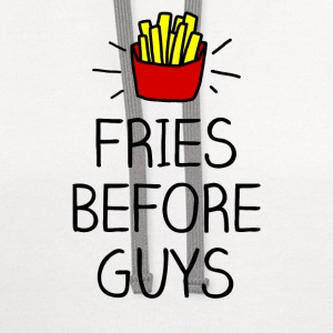 fries before guys color Women's T-Shirts - Contrast Hoodie