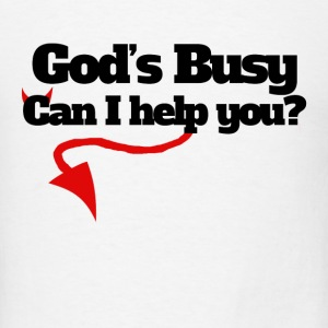 God's busy can I help you halloween humor - Men's T-Shirt