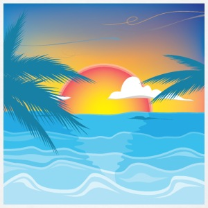 Beauty Sunset Beach Landscape - Men's T-Shirt