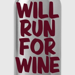 WILL RUN FOR WINE T-Shirts - Water Bottle