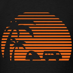 camper sun bus surfing beach sunset camping palms Tank Tops - Men's T-Shirt