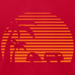 camper sun bus surfing beach sunset camping palms Tanks - Men's T-Shirt by American Apparel