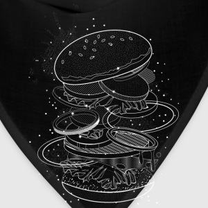 Burger Design made of white contours and stars T-Shirts - Bandana