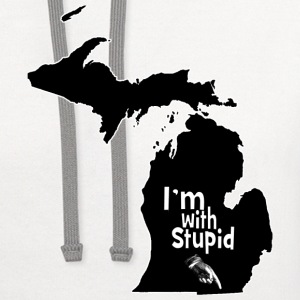Funny Michigan I'm with Stupid Ohio T-Shirts - Contrast Hoodie