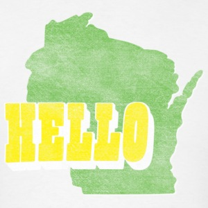 Hello Wisconsin Distressed Throwback Hoodies - Men's T-Shirt