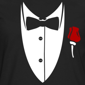 Collar with bow tie and rose from suit Shirt - Men's Premium Long Sleeve T-Shirt