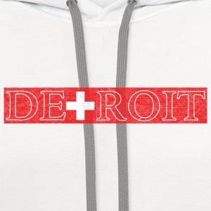 Detroit Switzerland Swiss Flag Women's T-Shirts - Contrast Hoodie