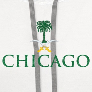 Chicago Saudi Arabia Flag Long Sleeve Shirts - Contrast Hoodie