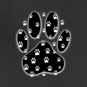 White Paws All Over Black Paw Print - Adjustable Apron