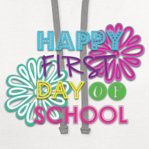 Girls Happy 1st Day of School Shirt - Contrast Hoodie