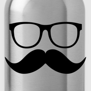 mustache and glasses - Water Bottle