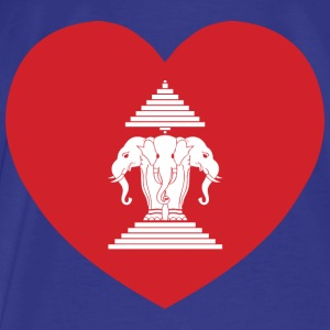 Laotian Erawan 3 Headed Elephant Heart Flag Bags & backpacks - Men's Premium T-Shirt