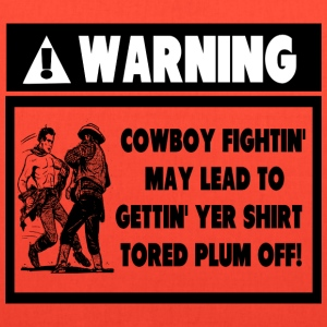 Warning Label for Cowboy Fights Kids' Shirts - Tote Bag