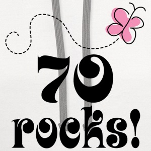 70th Birthday 70 Rocks Women's T-Shirts - Contrast Hoodie